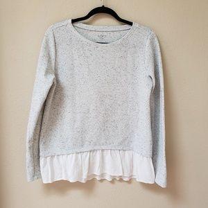 [LOFT] Gray Sweater w/ White Shirt Tail Ruffle